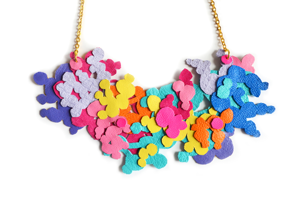 Neon Bib Necklace, Geometric Jewelry, Circle Dot Splashes Bright Colors 3.jpg