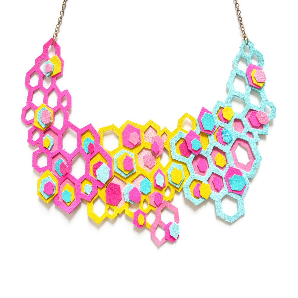 Neon Geometric Statement Necklace Honey Comb Hexagons Neon Statement Jewelry 3.jpg