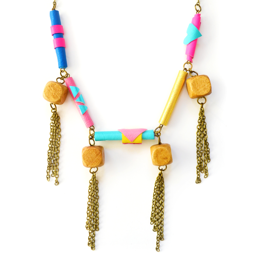 Leather Bead Necklace Neon Leather and Wooden Facet Bib Necklace 2.jpg