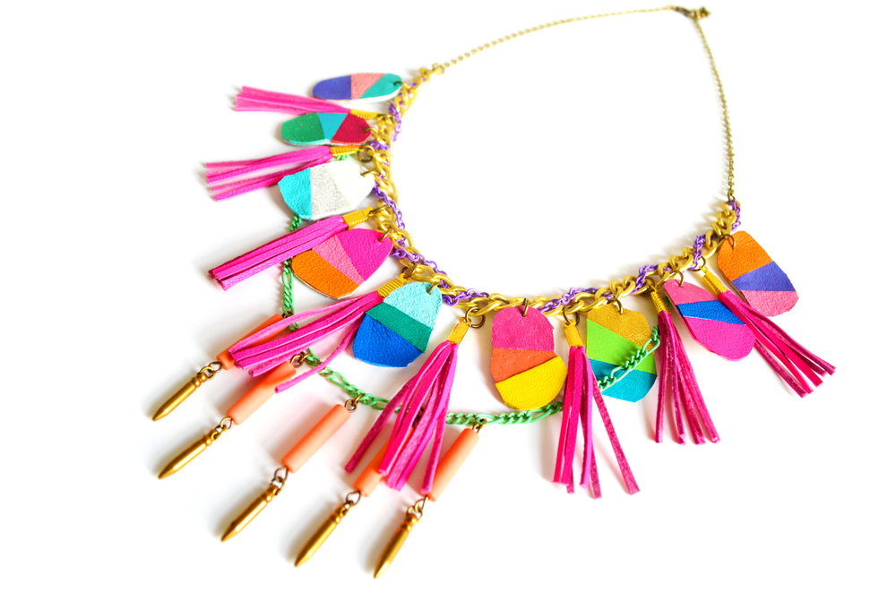 Chunky Neon Statement Necklace Geometric Color Block Leather Fringe - Statement Jewelry 3.jpg
