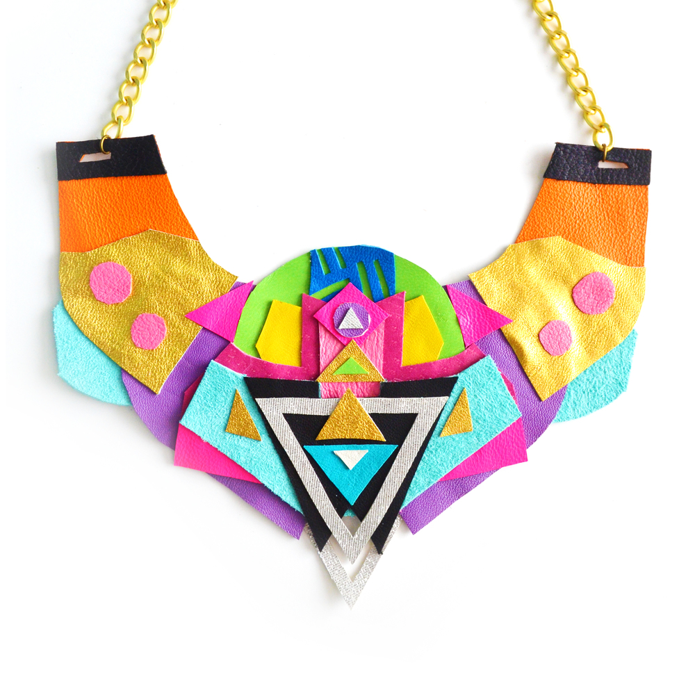 Neon Statement Necklace Geometric Leather Color Block Triangle Pattern 2.jpg