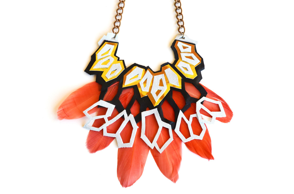 Metallic Necklace Geometric Hexagons and Feathers.jpg