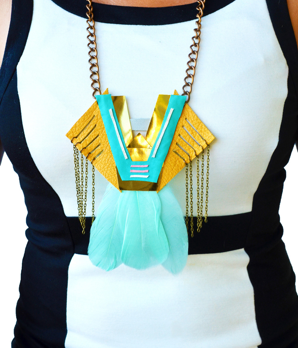 Neon Necklace Geometric Triangle and Teal Feathers 7.jpg