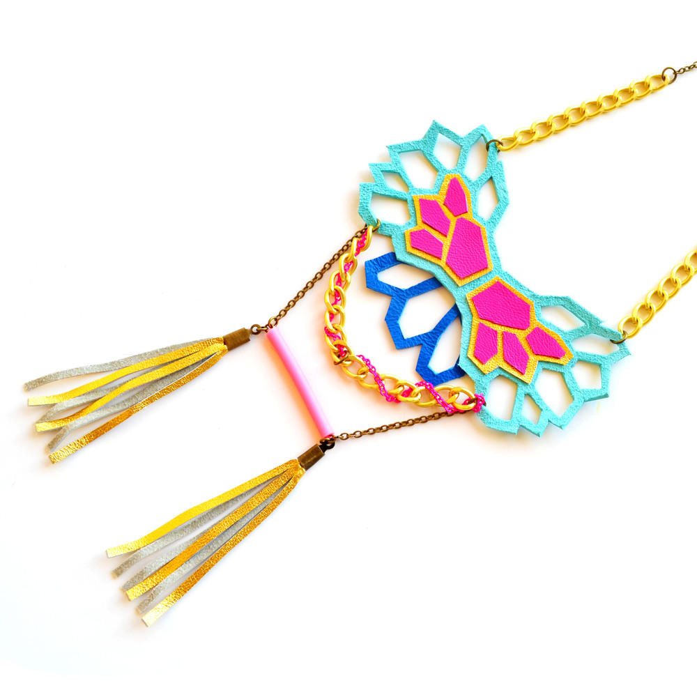 Neon Necklace Geometric Hexagons and Tribal Fringe 5.jpg