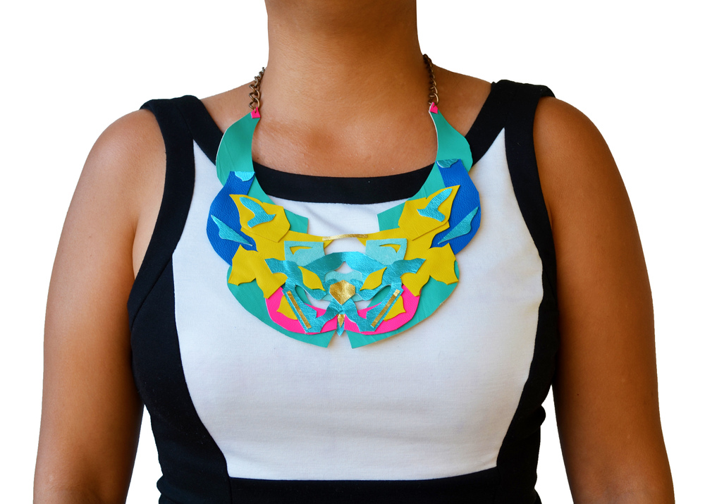 Neon Collar Necklace Metallic Geometric Rorscach Ink Blot.jpg