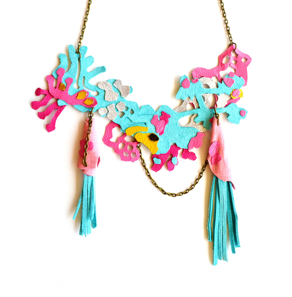 Neon Necklace Leather Coral and Sea Growths with Fringe 6.jpg