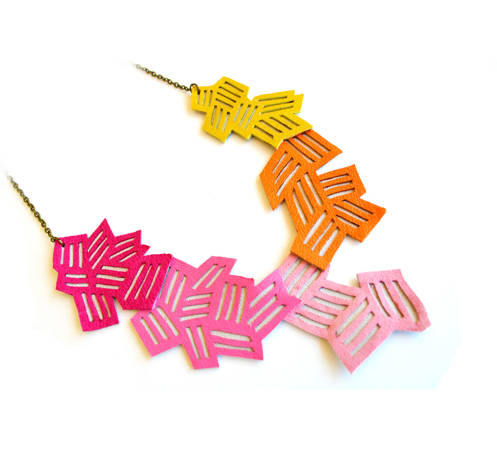 Geometric Necklace Neon Color Block Chevron Stripes 2.jpg