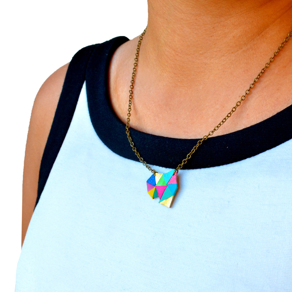Triangle Pendant Necklace Neon Geometric Color Block model 3.jpg