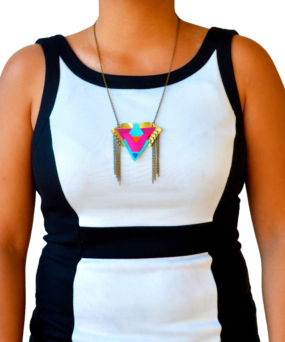 Neon Pendant Necklace Triangle Pattern and Fringe 5.jpg