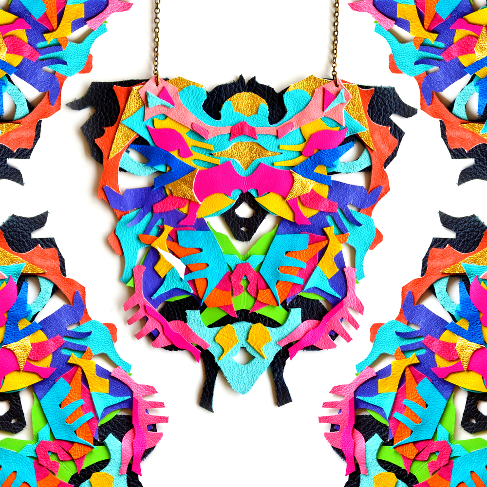 Neon Statement Necklace Geometric Rorschach Ink Blot - Statement Jewelry 9.jpg
