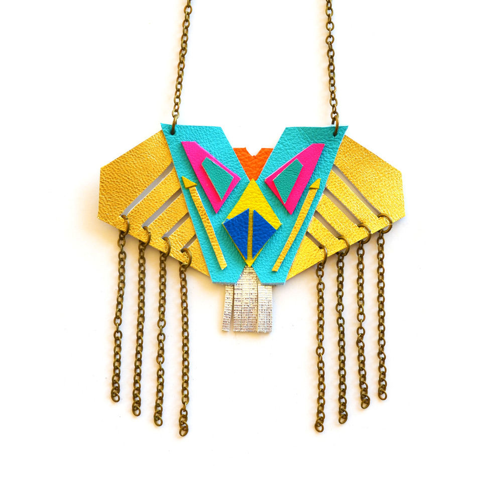 Neon Necklace Metallic Tribal Pattern and Fringe.jpg