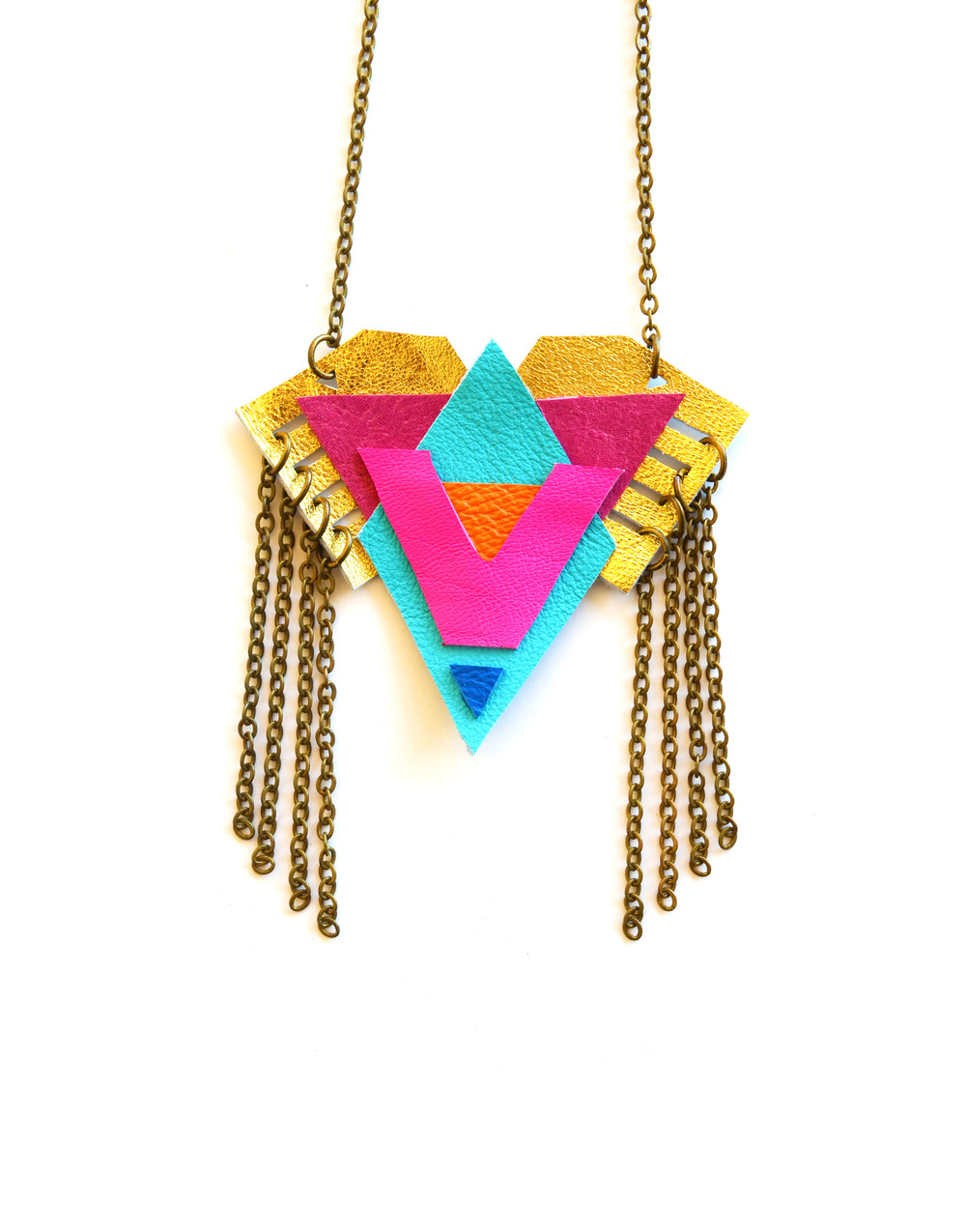 Neon Pendant Necklace Triangle Pattern and Fringe 3.jpg