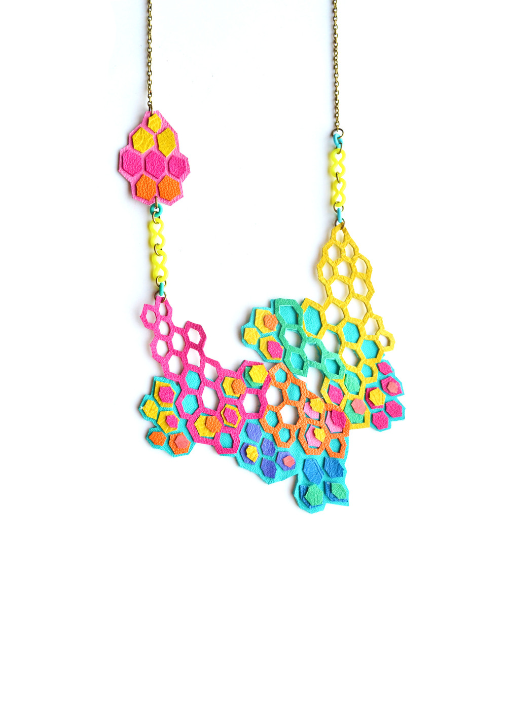Molecular Series Leather Necklace Neon Rainbow 2.jpg