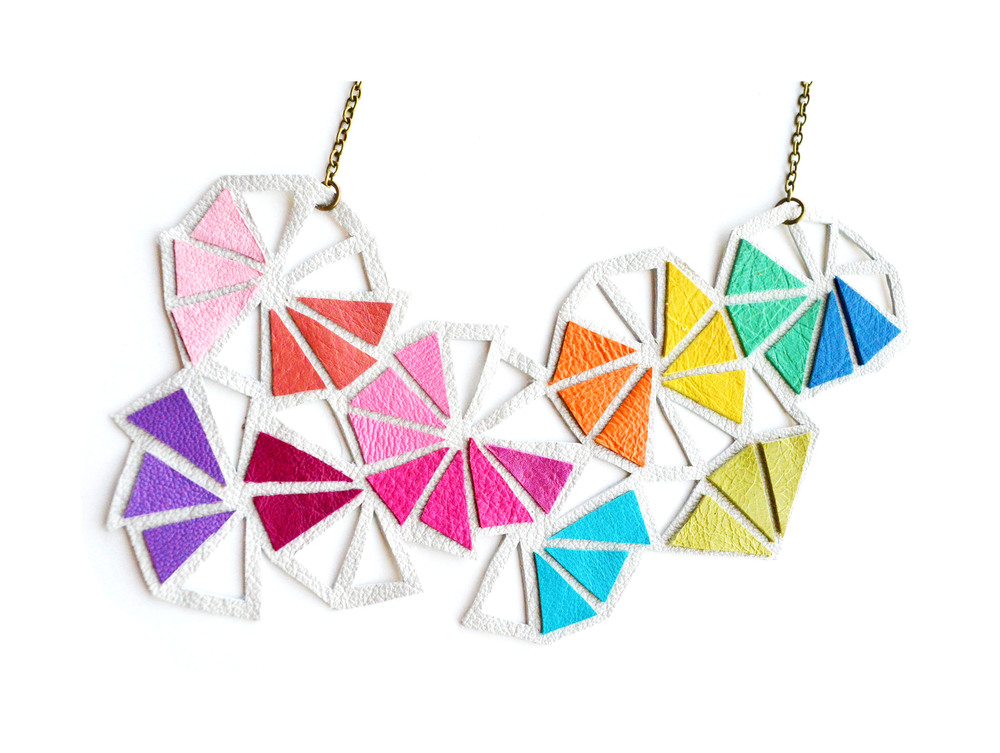 Geometric Leather Necklace Neon Triangle Kaleidoscopes 3.jpg