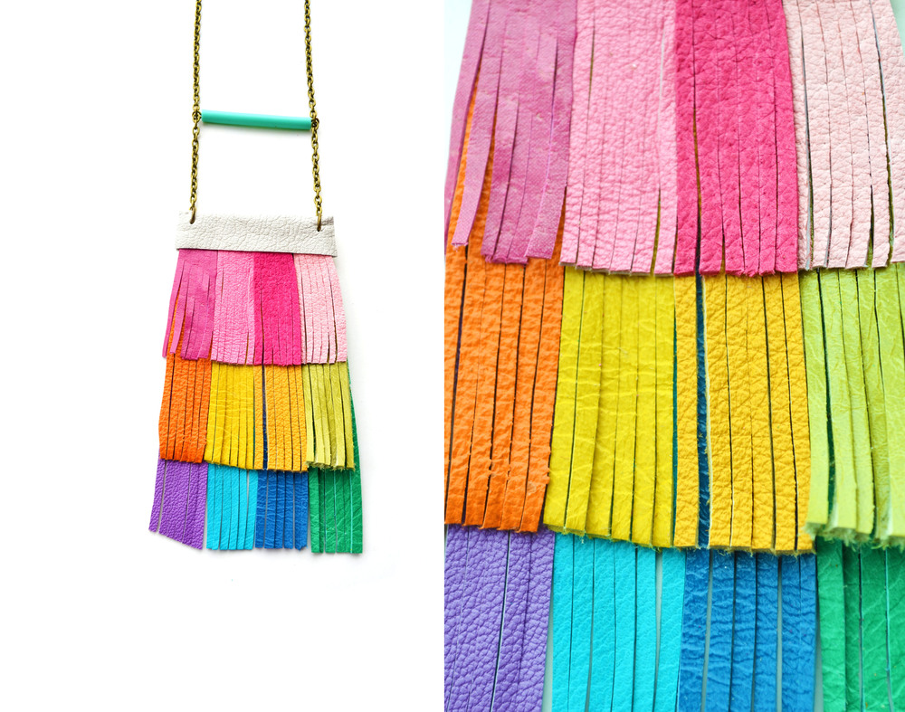 Leather Fringe Necklace Neon Rainbow 6.jpg