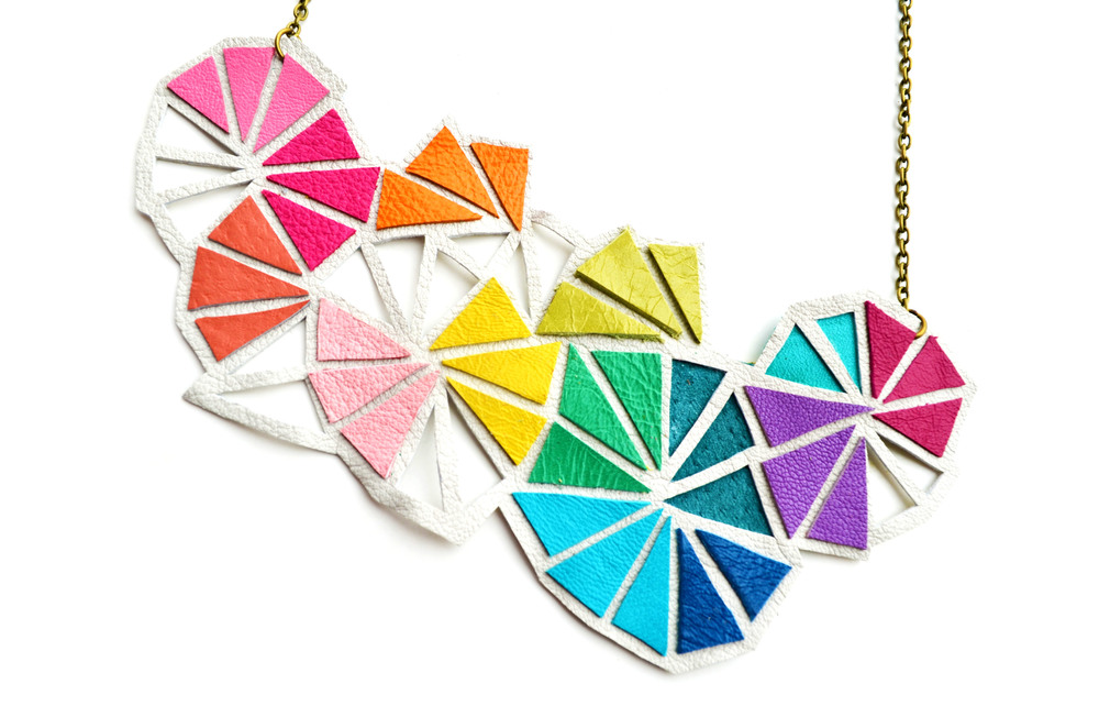 Geometric Leather Necklace Neon Triangle Kaleidoscope 3.jpg