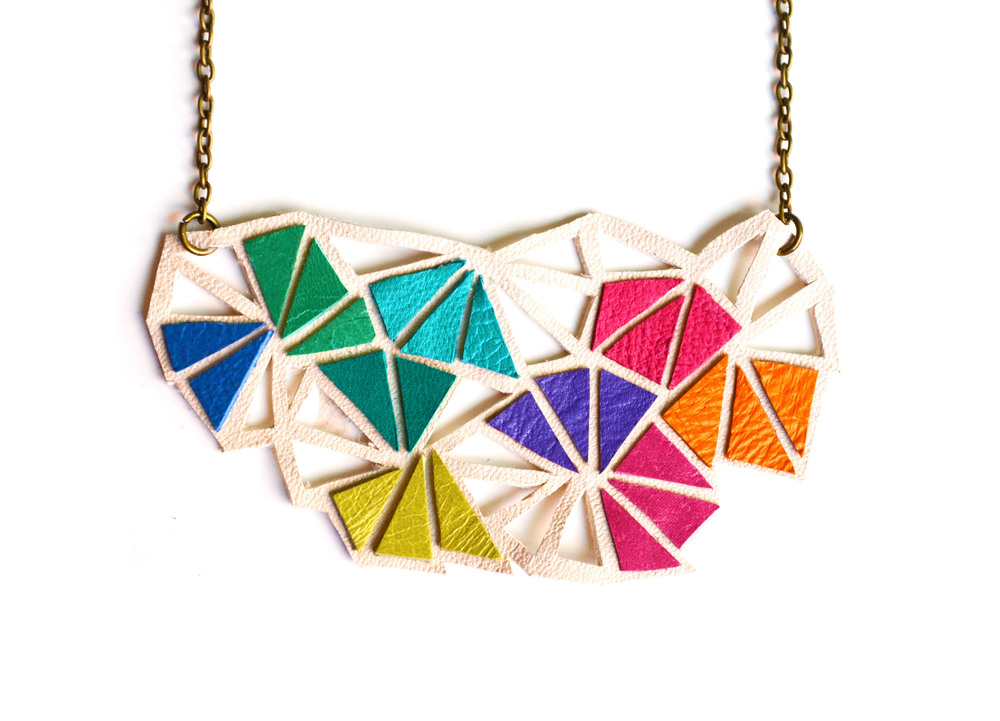 Geometric Necklace Leather Triangle Kaleidoscope 3.jpg