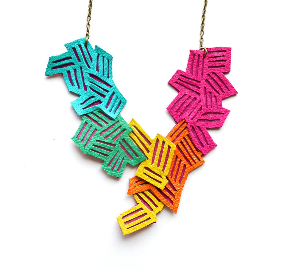 Neon Geometric Necklace Chevron Stripes 3.jpg