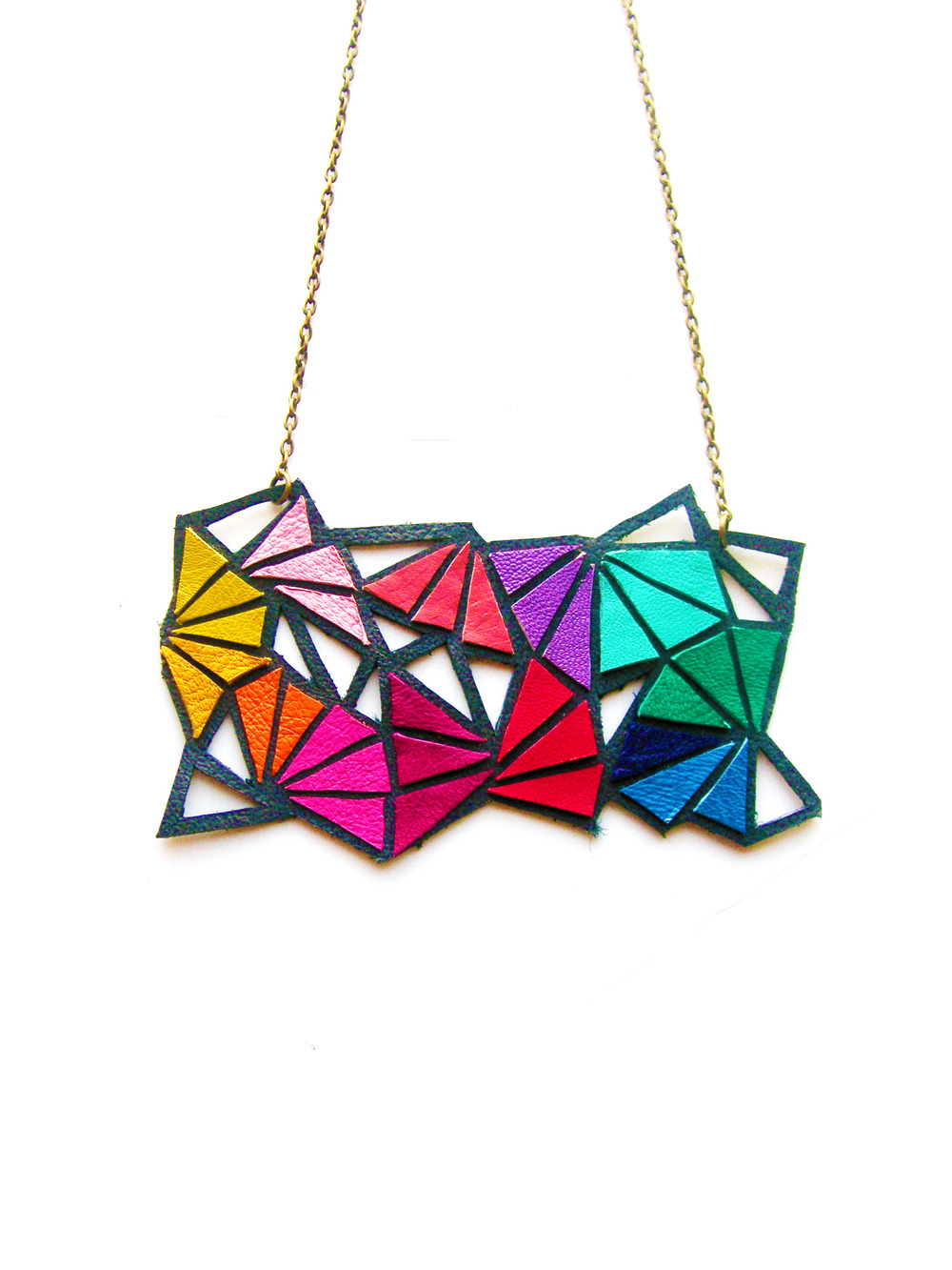 Geometric Necklace Leather Triangle Kaleidoscope 2.jpg
