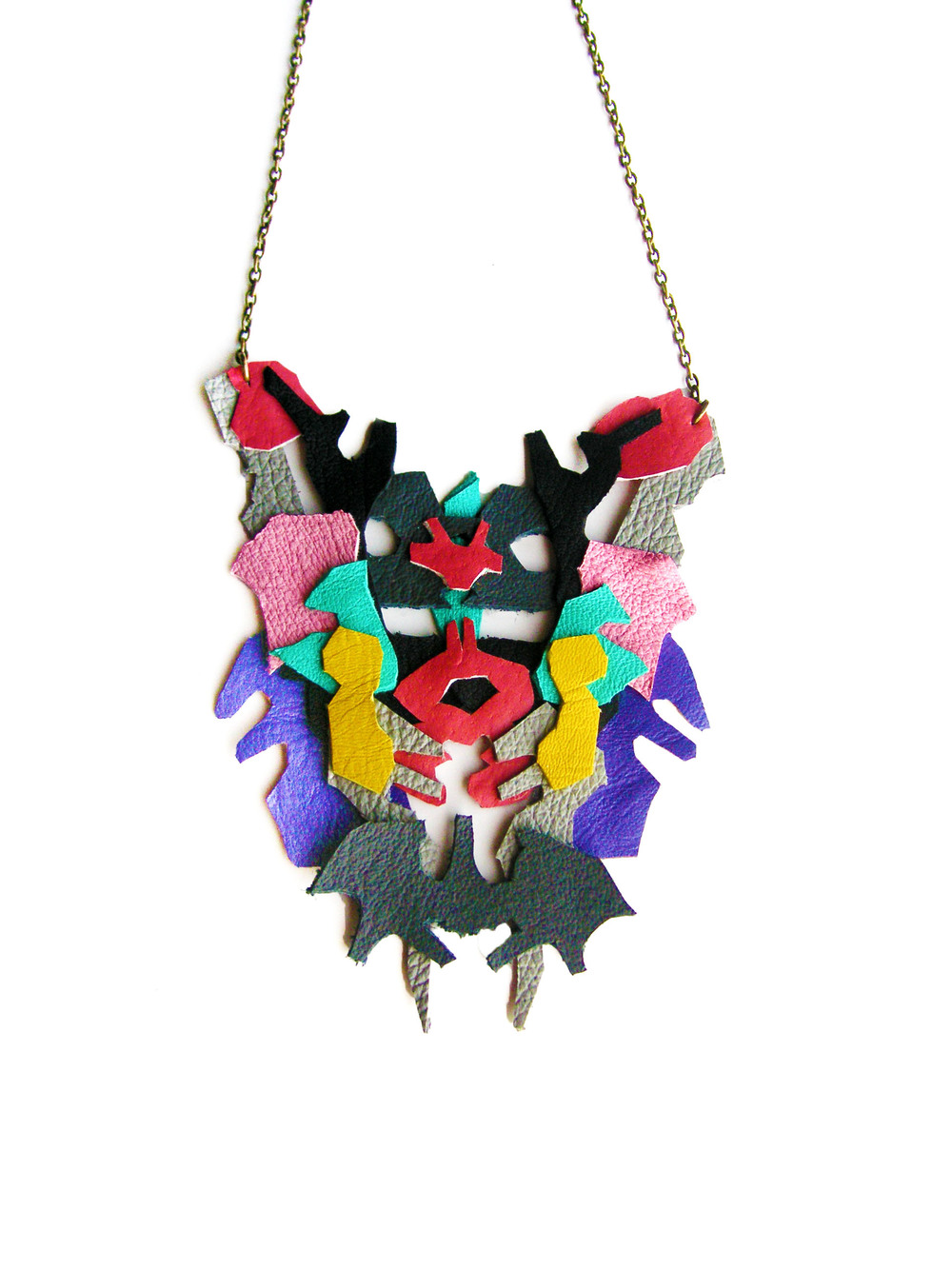 Geometric Leather Necklace Pink and Gray Color Ink Blot 2.jpg
