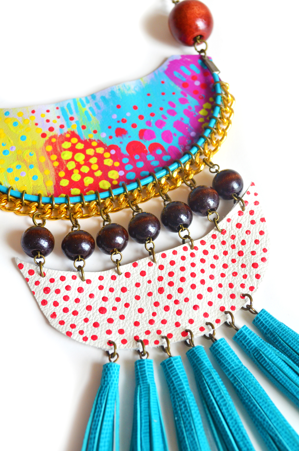 Wood Fringe Bib Necklace, Geometric, Tribal Semi Circle Dots, Neon Woven Chain 5.jpg