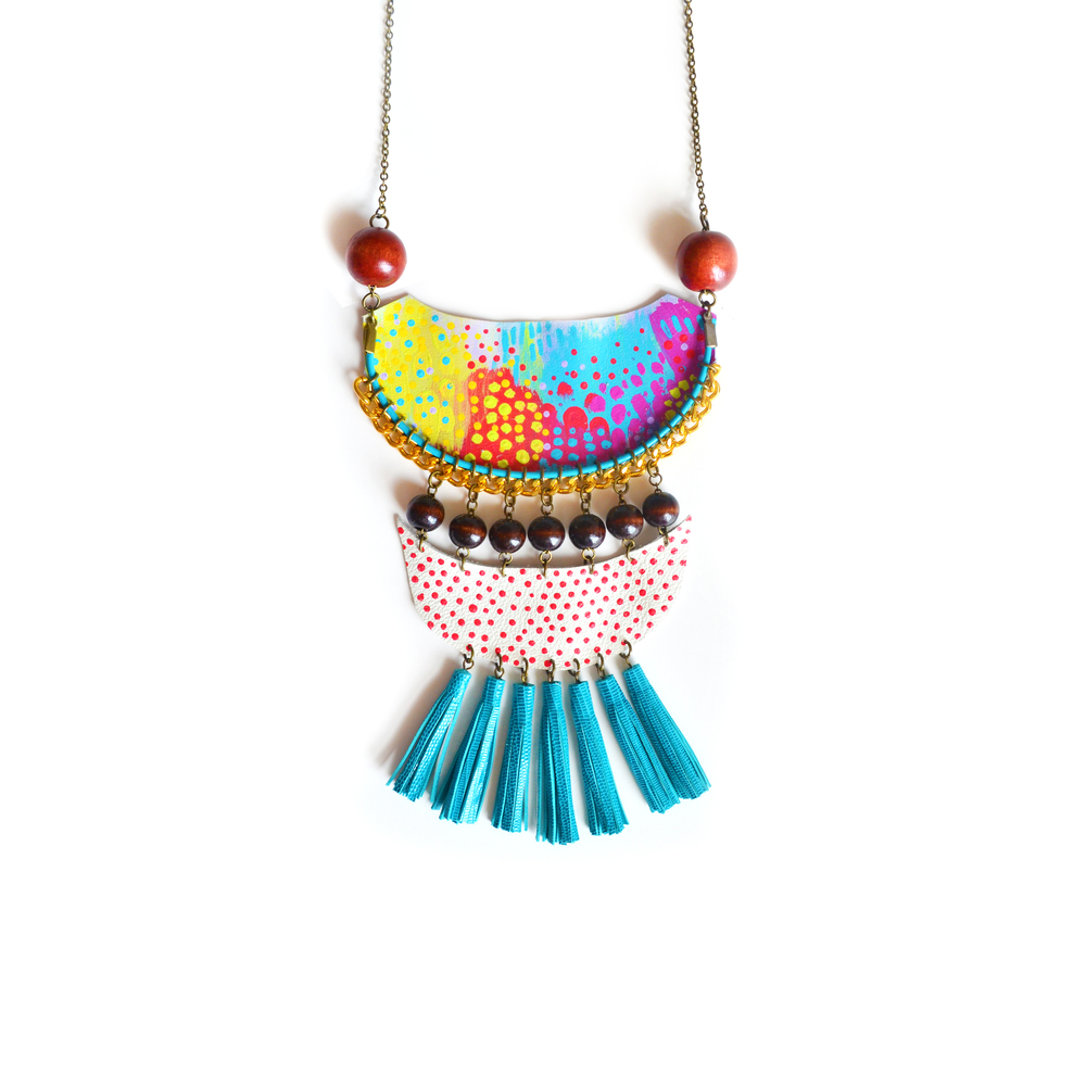 Wood Fringe Bib Necklace, Geometric, Tribal Semi Circle Dots, Neon Woven Chain.jpg