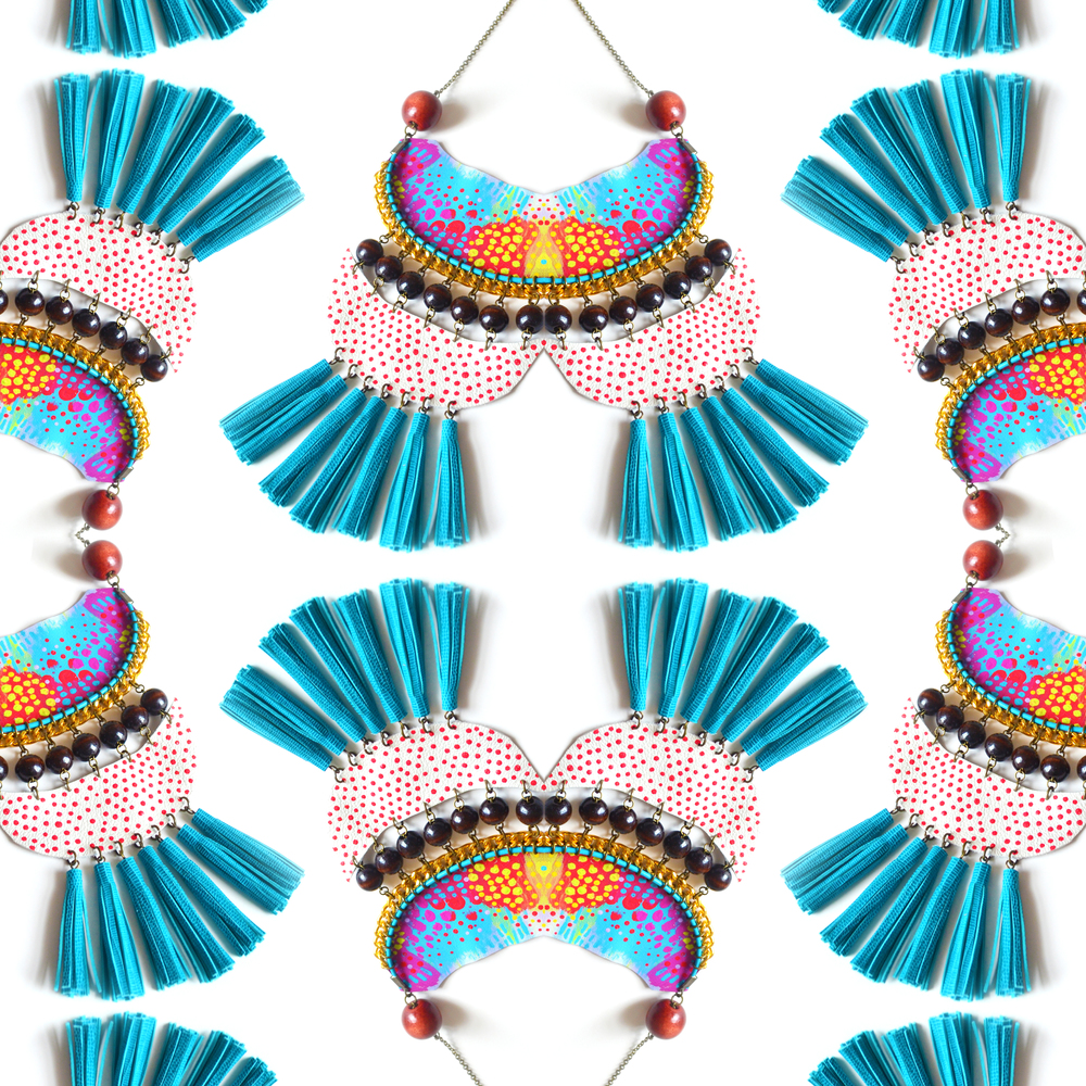 Wood Fringe Bib Necklace, Geometric, Tribal Semi Circle Dots, Neon Woven Chain collage.jpg