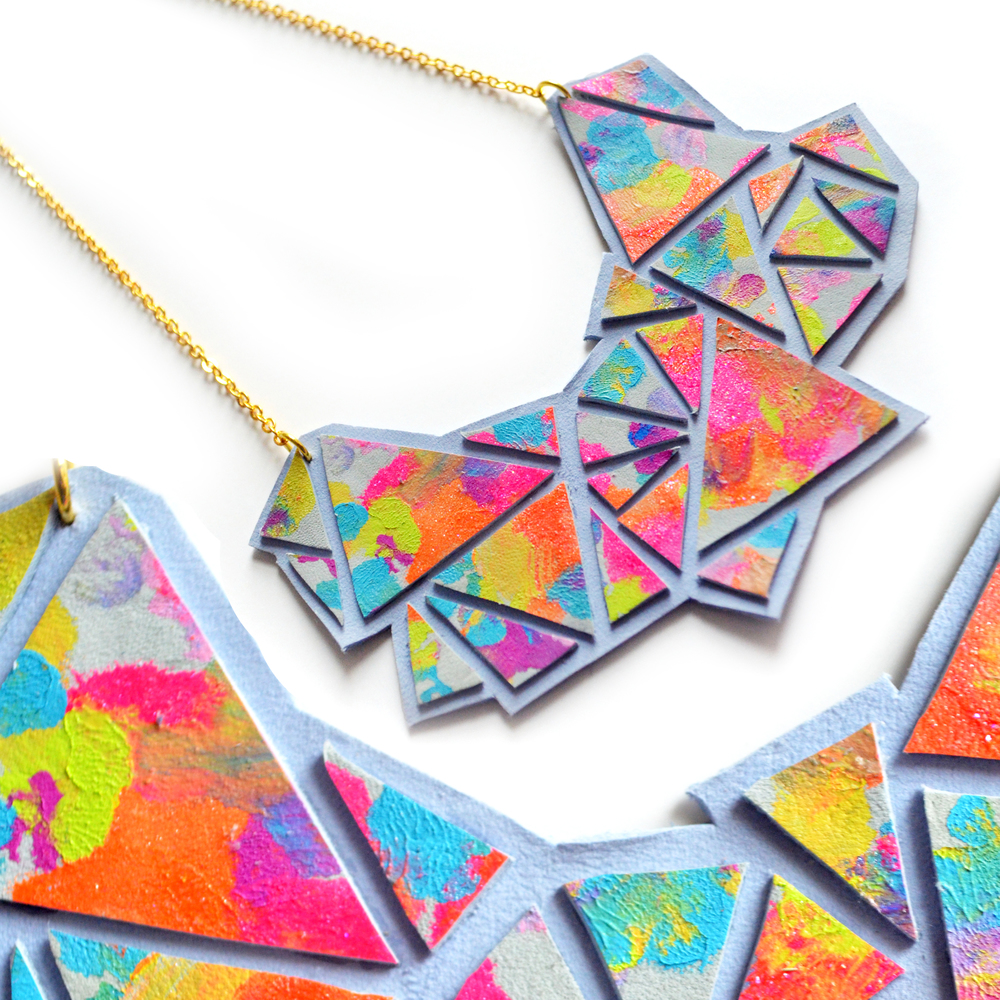 Geometric Bib Necklace, Triangle Facets, Neon Abstract Painting 6.jpg