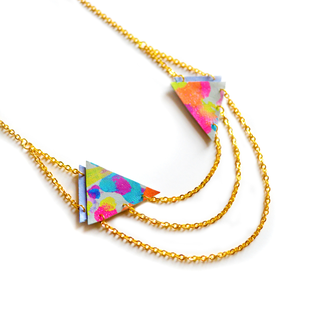 Triangle Necklace, Neon Painted Chevrons, Layered Chain Jewelry 4.jpg