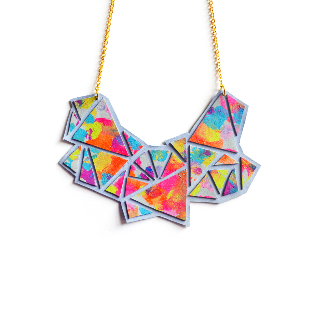 Geometric Bib Necklace, Triangle Facets, Neon Abstract Painting 3.jpg