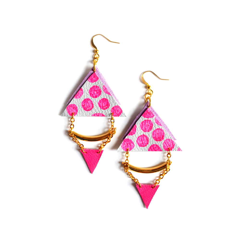 Brass Tube Leather Earrings Triangle Polka Dot Circles in Hot Pink, Geometric Jewelry.jpg
