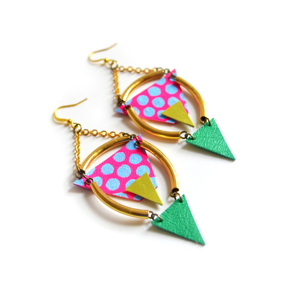 Brass Tube Geometric Earrings Neon Blue Dots and Hot Pink Triangle, Chandelier Earrings 3.jpg