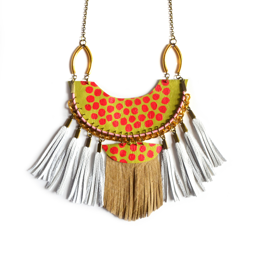 Fringe Leather Statement Necklace, Red Polka Dots on Green Half Circle, Fringe Tassel Statement Jewelry 4.jpg