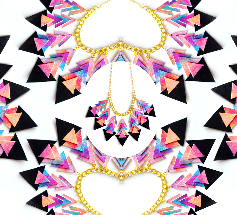 Triangle Statement Necklace, Tribal Ombre Sunset, Chevron Chevron Jewelry 6.jpg