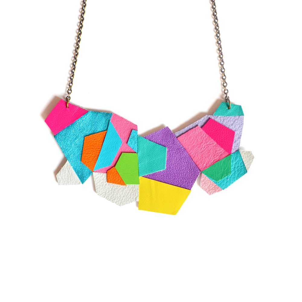 Geometric Necklace, Colorful Rainbow, Faceted Polygon Leather Jewelry.jpg
