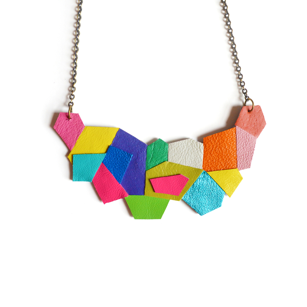 Geometric Necklace, Polygon Facets, Rainbow Neon Leather Jewelry 4.jpg
