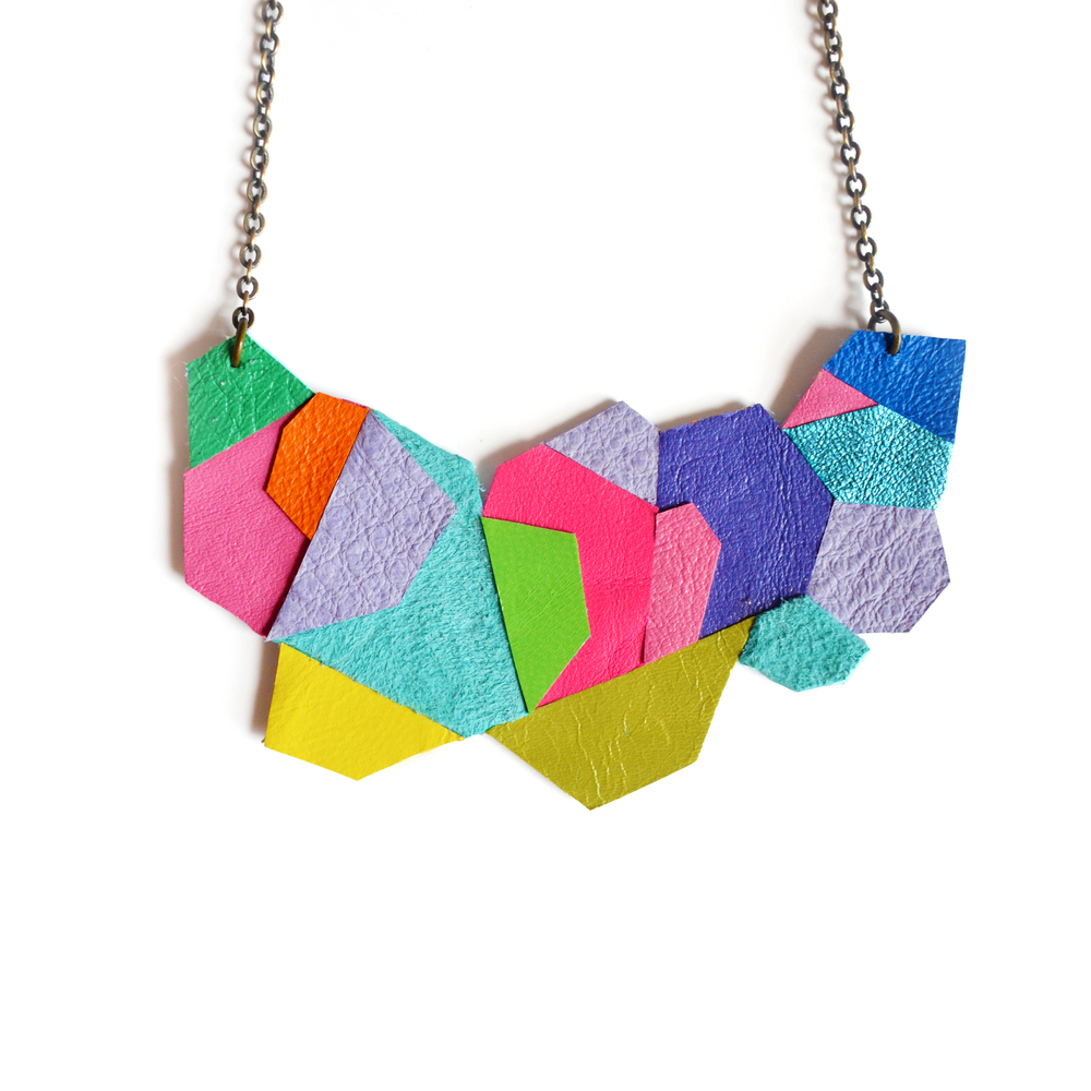 Geometric Bib Necklace, Neon Faceted Polygon Leather Jewelry 5.jpg