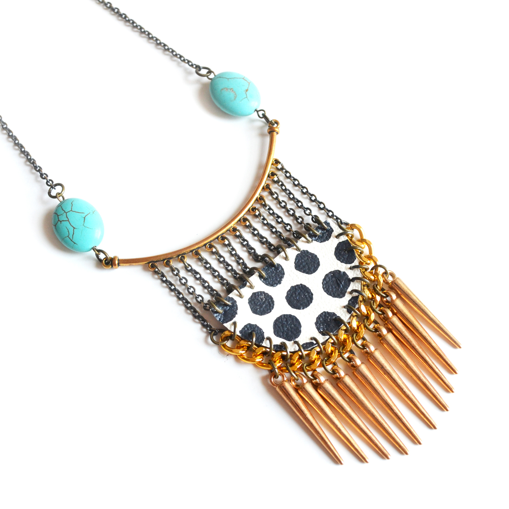 Geometric Brass Turquoise Necklace, Gold Spikes, Leather Polka Dot 3.jpg