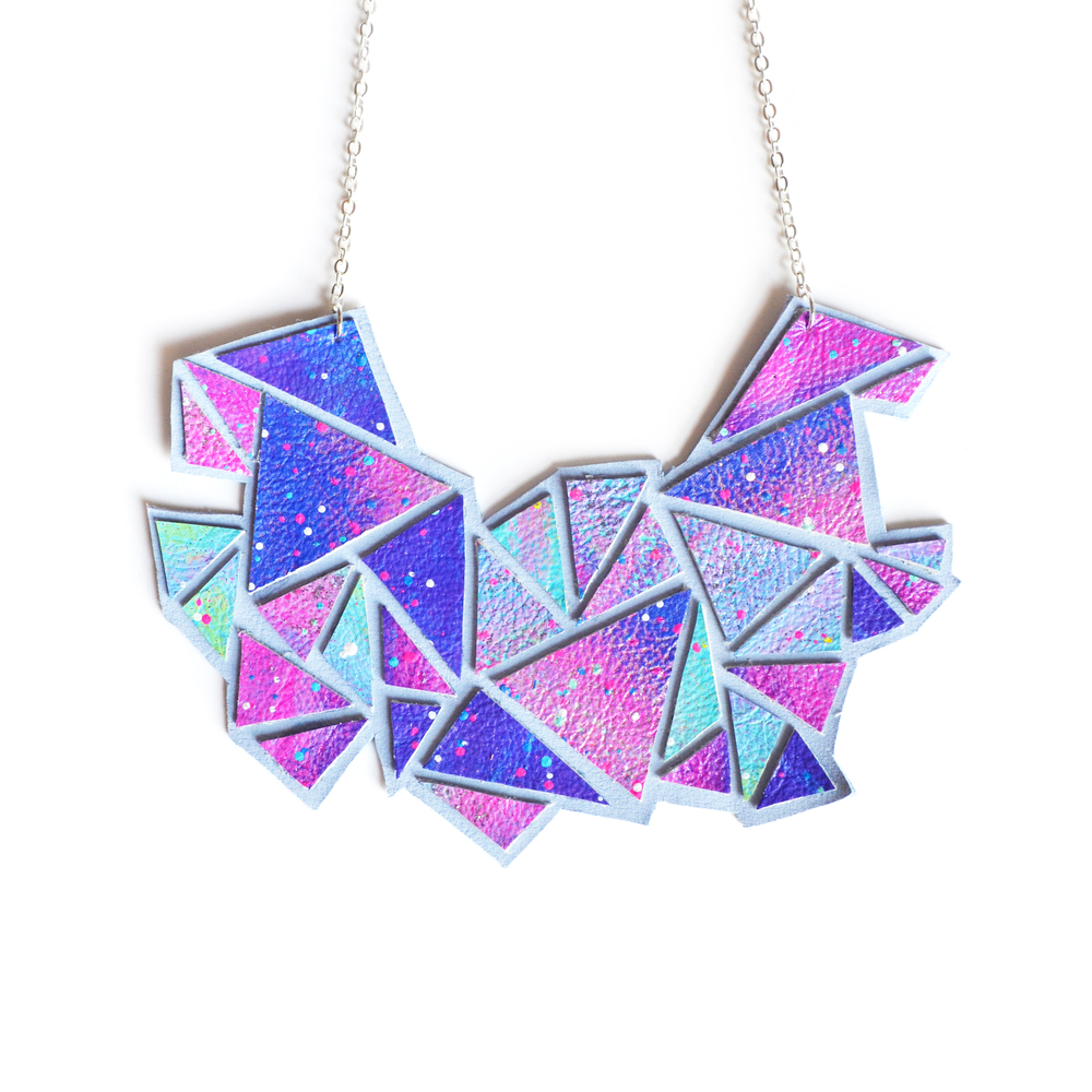 Geometric Bib Necklace, Chevron Triangle Faceted Universe Galaxy Print.jpg