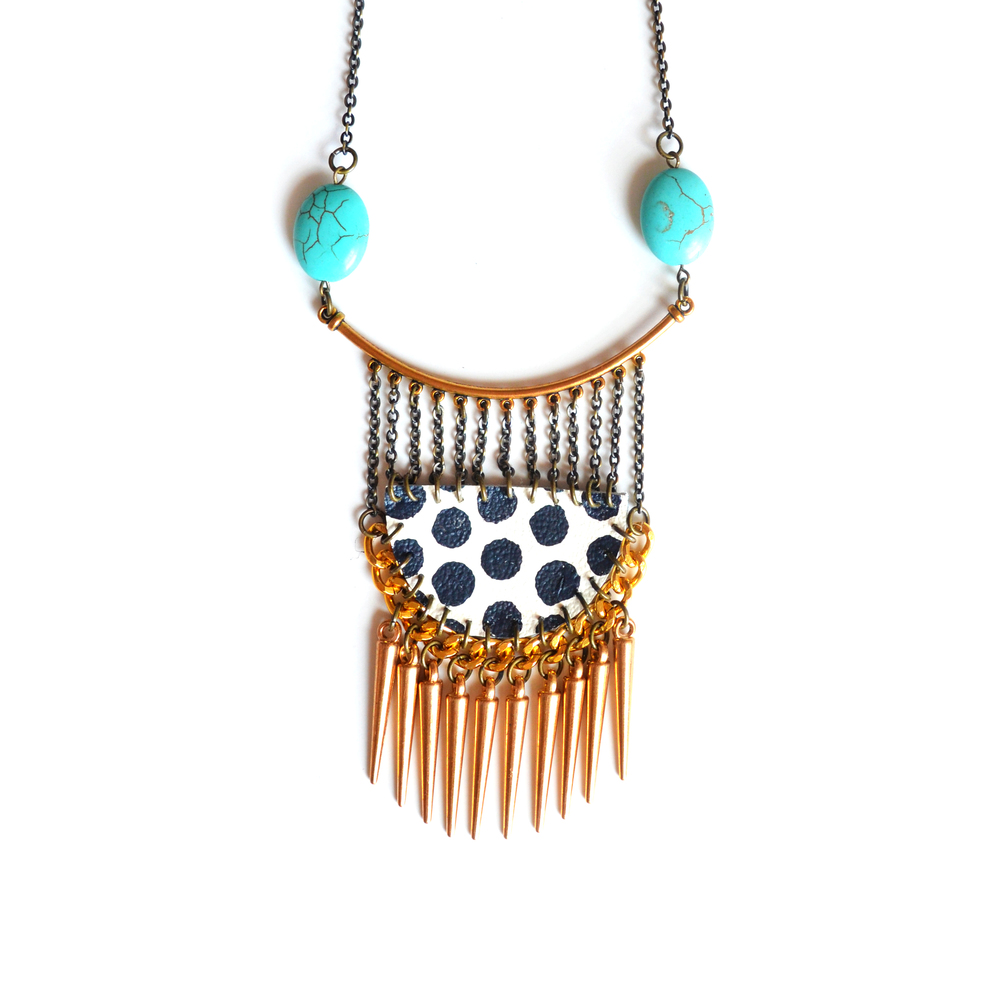Geometric Brass Turquoise Necklace, Gold Spikes, Leather Polka Dot 2.jpg