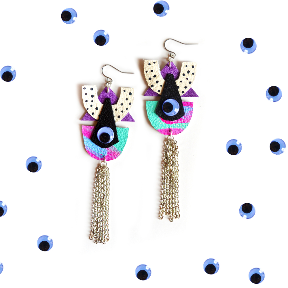 Geometric Eye Dangle Earrings, Triangle and Crescent Polka Dots Pattern, Cartoon Pop Art, Chain Fringe Earrings 6.jpg