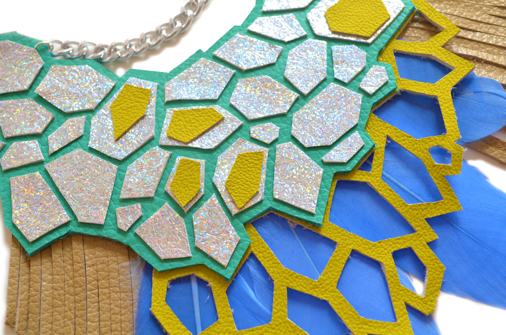 Geometric Hologram Statement Necklace, Teal and Green Hexagons, Feather and Fringe Statement Jewelry 5.jpg