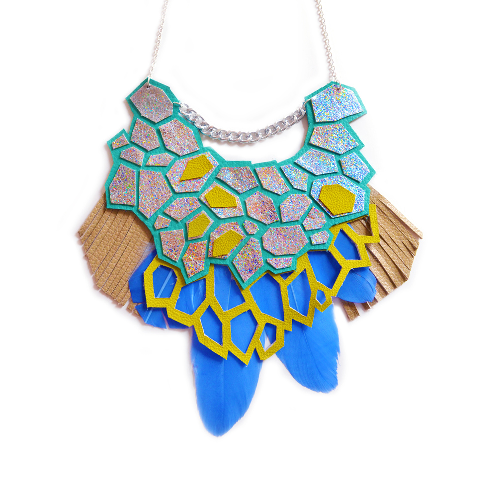 Geometric Hologram Statement Necklace, Teal and Green Hexagons, Feather and Fringe Statement Jewelry small 2.jpg
