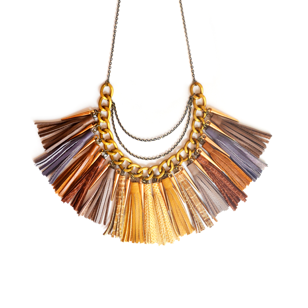 Spike Leather Statement Tassel Necklace, Brown Ombre Fringe, Chunky Chain Jewelry 2.jpg