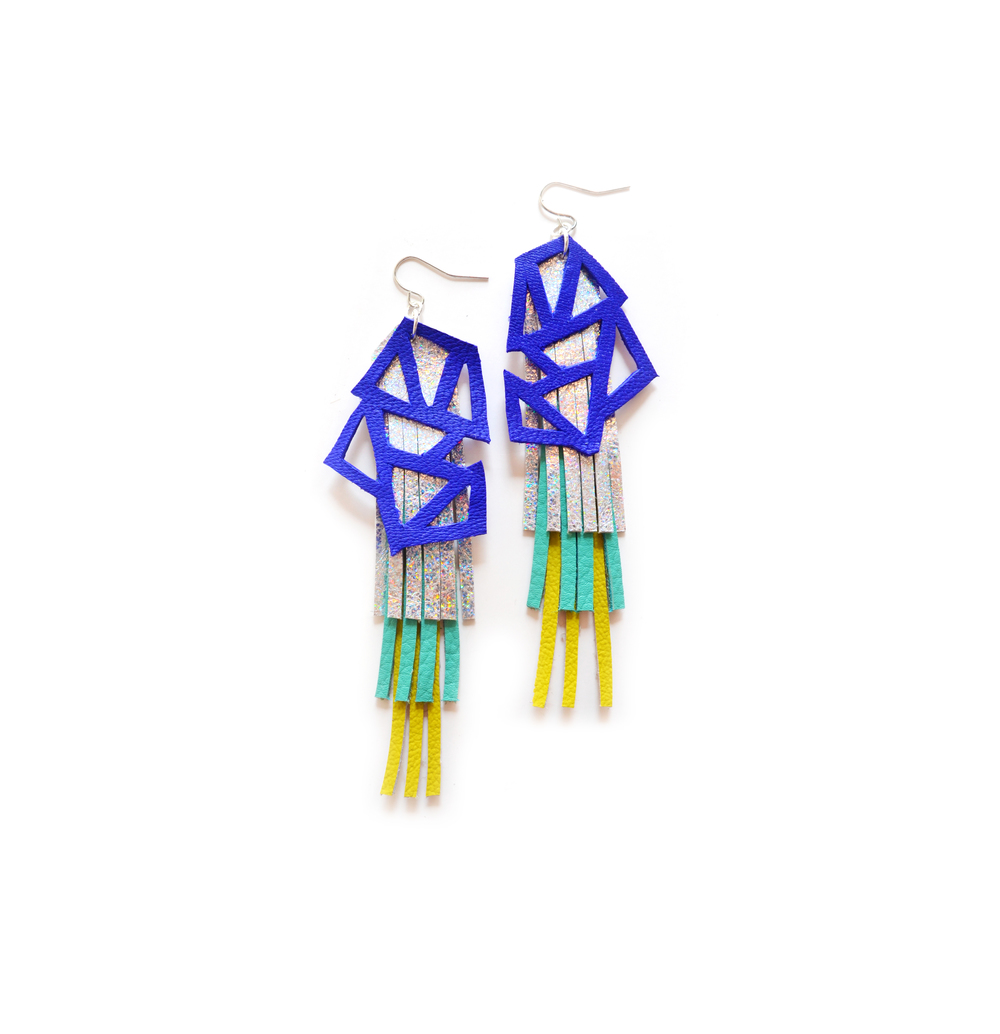 Hologram Earrings, Fringe Leather Jewelry, Electric Blue Geometric Earrings.jpg