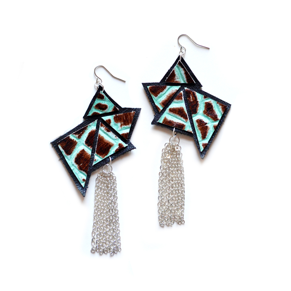 Triangle Geometric Earrings, Leather Tassel Jewelry, Silver and Mint Earrings.jpg