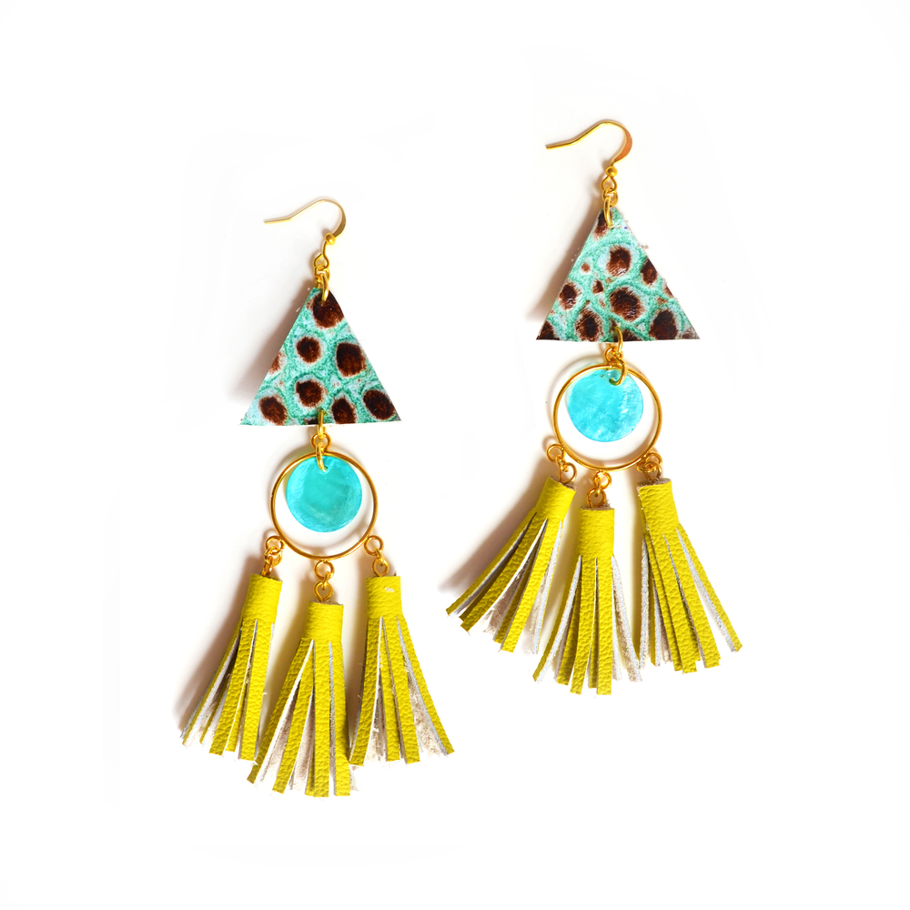 Chartreuse Leather Chandelier Earrings, Triangle Tassel Earrings, Statement Jewelry 5.jpg