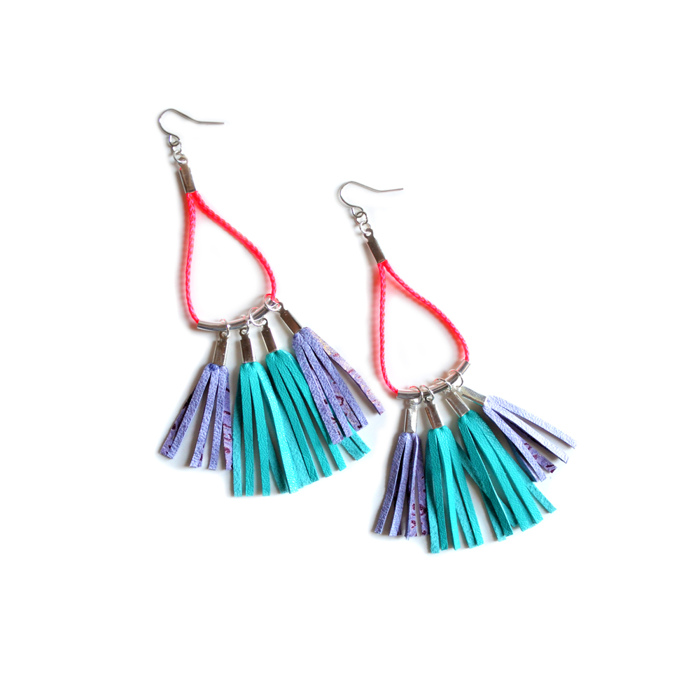 Leather Fringe Earrings, Turquoise Dangle Earrings, Colorful Geometric Jewelry 2.jpg