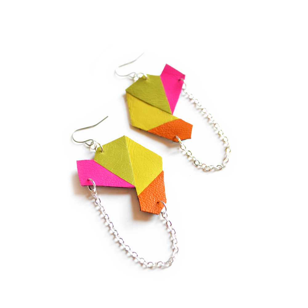 Polygon Earrings, Geometric Jewelry, Hot Pink Leather Hexagons 3.jpg