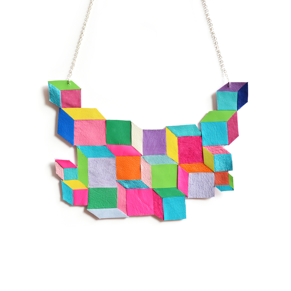 Cube Geometric Necklace, Escher Squares, Leather Bib Necklace, Neon Rainbow Modern Jewelry 2.jpg